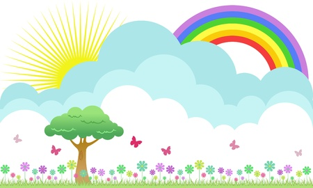 A beautiful flowery meadow illustration with rainbow and butterflies