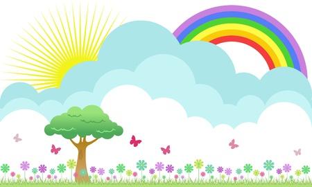 fiori di campo: Un bel prato fiorito con illustrazione arcobaleno e farfalle Vettoriali