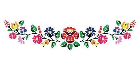 Piękny kwiatowy wzór węgierski Kalocsai Ilustracje wektorowe