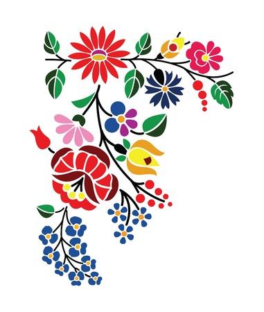 Piękny kwiatowy wzór węgierski Kalocsai