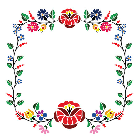 A beautiful hungarian Kalocsai floral pattern  Vector