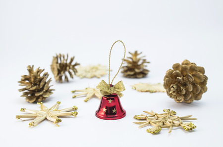 handbell: Christmas-tree ornaments with a little red hand-bell