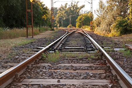 suburban: An old suburban railroad near Budapest in Hungary Stock Photo