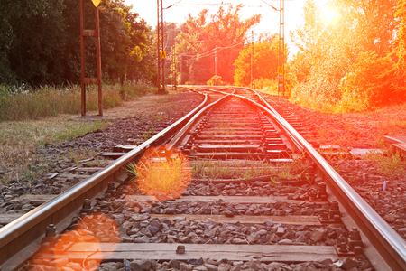 ballast: An old suburban railroad near Budapest in Hungary Stock Photo