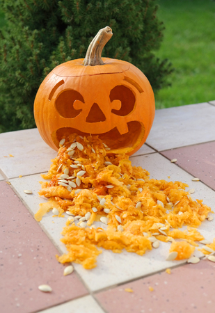 A pumpkin lantern with funny face vomit