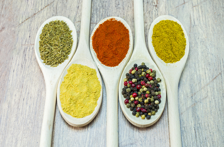 variable: Variable colored exotic spices on wooden spoon