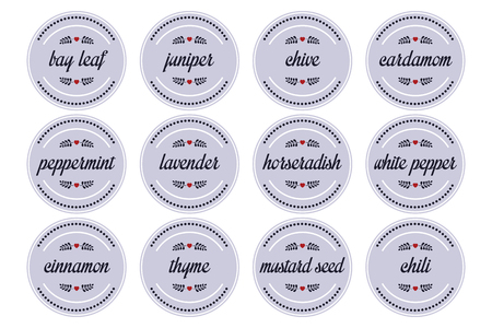 chive: 12 herbs and spices on round label Illustration