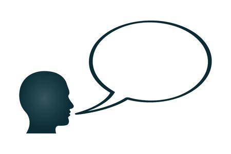 oracion: Una cabeza humana con una burbuja de textos en blanco. Vectores