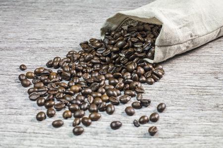 linen bag: A linen bag of roasted coffee beans