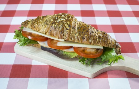 checkered tablecloth: Seedy croissant sandwich on a checkered tablecloth.