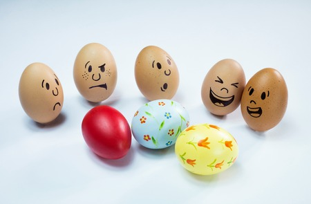 Egg faces are around some easter eggs.