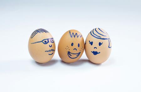 A happy, harmonious three member egg family. Zdjęcie Seryjne