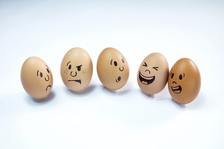 Group of chicken eggs with various emotions