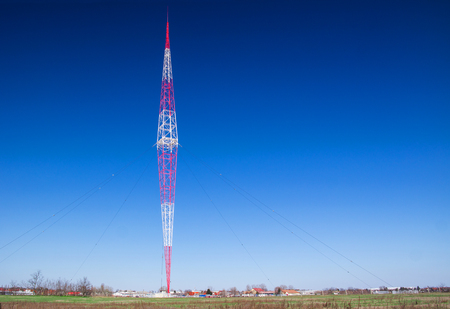 The highest telecommunications mast tower in Europe. Zdjęcie Seryjne