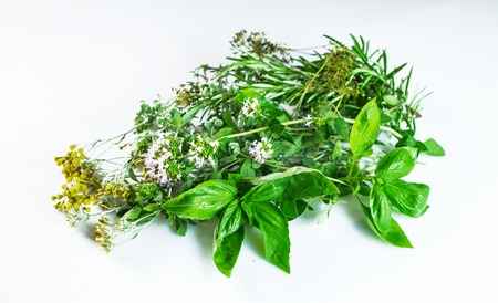 A bouquet of fresh herbs in white background.