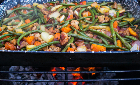 various grilled vegetables in a baking sheet.