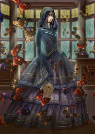 Digital illustration fantastic themed Woman in Victorian dress with surreal scene around many butterflies.