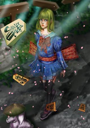 digital illustration fantastic themed Alice in Wonderland japanese style Stock fotó