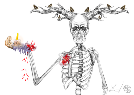 digital illustration of a skeleton with horns holding a candle