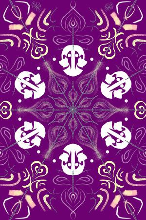 digitaal ontwerp, met stereoscopisch beeld, met figuratieve en abstracte elementen, die een patroon volgen, dat kan worden gebruikt als achtergrond in andere ontwerpen, illustraties of achtergronden