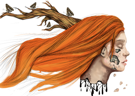 surreal wicca illustration of head of redhead girl, with horns, with her face falling apart