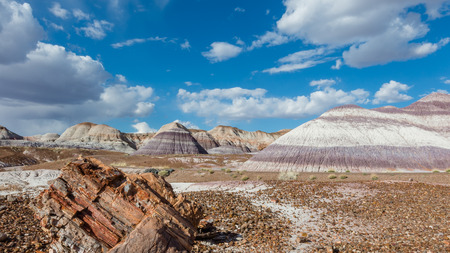 restlessness: Route 66  Petrified wood amidst towering hills with colorful bands of silt, sand, and gravel  Blue Dome trail, Petrified Forest National Park on Route 66, Arizona Stock Photo
