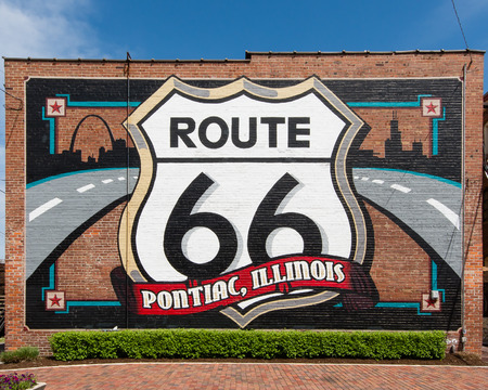 restlessness: PONTIAC, IL USA - MAY 5, 2013  Route 66 mural commemorates the city s role