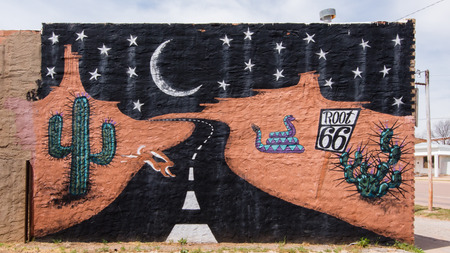 restlessness: SAYRE, OK USA - MAY 8, 2013  Famous  Root 66   a k a  Route 66  mural at the Route 66 Bar