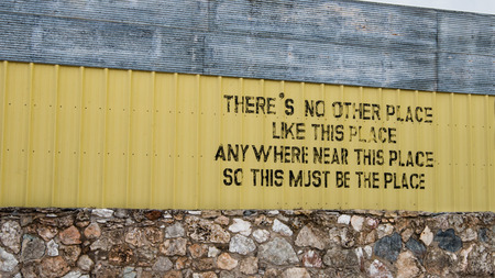 TEXOLA, OK USA - MAY 8, 2013  Famous  There s no other place like this place anywhere near this place so this must be the place  sign, on Route 66