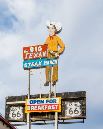 AMARILLO, TX USA - MAY 8, 2013  Big Texan Steak Ranch neon sign and shield on Route 66