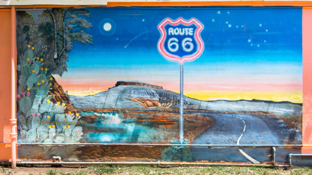 restlessness: TUCUMCARI, NM USA - MAY 9, 2013  Famous  Route 66  mural at the Blue Swallow Motel
