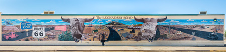 nm: TUCUMCARI, NM USA - MAY 9, 2013  Route 66 mural commemorates the road s role  Artists  Doug and Sharon Quarles Editorial
