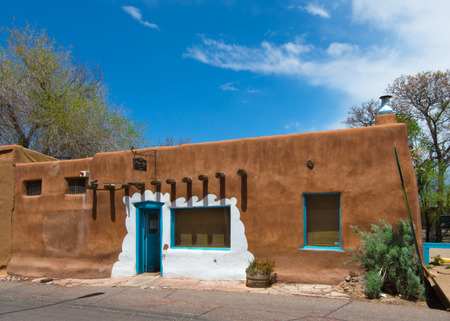 SANTA FE, NM USA - MAY 10, 2013  Historic Casa Vieja de Analco  oldest house in USA  on Route 66