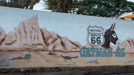 restlessness: OATMAN, AZ USA - MAY 13, 2013  Historic Route 66 mural commemorates the Oatman donkeys  Editorial