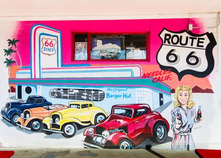 restlessness: NEEDLES, CA USA - MAY 13, 2013   The Original Burger Hut  mural on Route 66, at the Burger Hut  Artist  Dan Louden Editorial