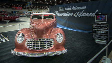 DETROIT, MI USA - MARCH 9, 2014  A 1934 Ford Custom, winner of the Preservation Award, on display at the Detroit AutoRama