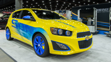 sonic: DETROIT, MI USA - MARCH 9, 2014  A 2014 Chevrolet  Chevy  Sonic Turbo, on display at the Detroit AutoRama  Editorial