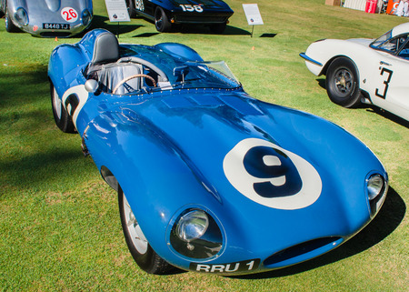 reminisce: PLYMOUTH, MI USA - JULY 27, 2012  A 1955 Jaguar D-Type car on display at the Concours d Elegance of America