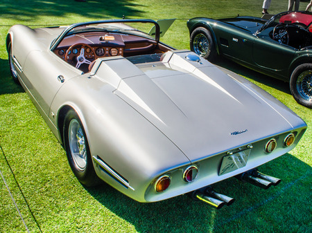 three wheeler: PLYMOUTH, MI USA - JULY 27, 2012  A 1966 Bizzarini 5300 Spyder car on display at the Concours d Elegance of America