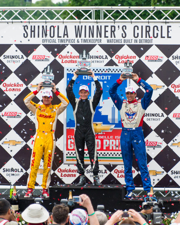 DETROIT MI USA - JUNE 1, 2013   Chevrolet Indy Dual in Detroit I  Grand Prix race held on Belle Isle  Winner s Circle; Mike Conway - 1st place,  Ryan Hunter-Reay - 2nd place; Justin Wilson - 3rd place  Sajtókép