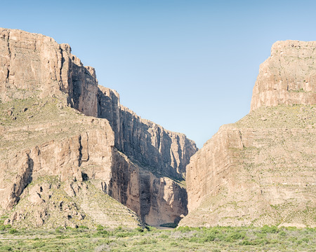 Santa Elena Canyon Overlook on the Ross Maxwell Scenic Drive, in Big Bend National Park, Texas. The canyon marks the border between the USA and Mexico.