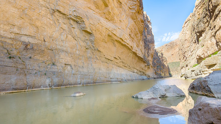 Rio Grande river flows through Santa Elena Canyon, on the Ross Maxwell Scenic Drive, in Big Bend National Park, Texas. The river is the border between the USA and Mexico. Фото со стока