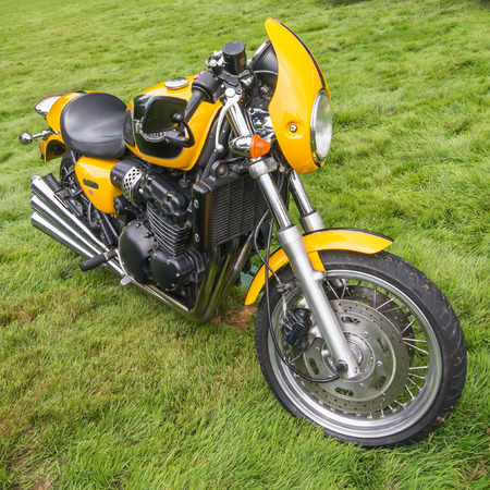thunderbird: GROSSE POINTE SHORES, MIUSA - JUNE 21, 2015: A 1999 Triumph Thunderbird Sport motorcycle at the EyesOn Design car show, held at the Edsel and Eleanor Ford House. Editorial
