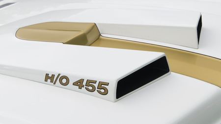 GROSSE POINTE SHORES, MIUSA - JUNE 21, 2015: A 1969 Oldsmobile HurstOlds HO 455 Cutlass hood scoop at the EyesOn Design car show, held at the Edsel and Eleanor Ford House.