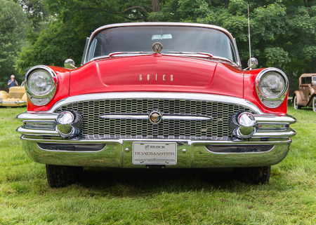 GROSSE POINTE SHORES, MIUSA - JUNE 21, 2015: A 1955 Buick Roadmaster car at the EyesOn Design car show, held at the Edsel and Eleanor Ford House.