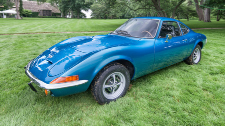 reminisce: GROSSE POINTE SHORES, MIUSA - JUNE 21, 2015: A 1973 Buick Opel GT car at the EyesOn Design car show, held at the Edsel and Eleanor Ford House. Editorial
