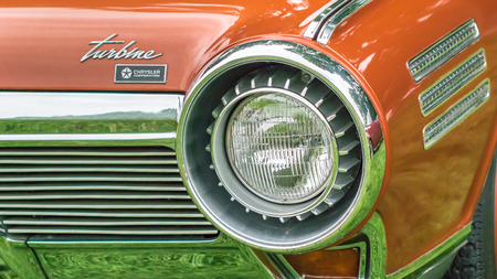 visions of america: GROSSE POINTE SHORES, MIUSA - JUNE 21, 2015: A 1963 Chrysler Turbine Concept car at the EyesOn Design car show, held at the Edsel and Eleanor Ford House.
