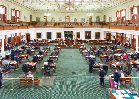 AUSTIN, TXUSA - APRIL 16: Senate Chamber, in session, at the Texas State Capitol building.