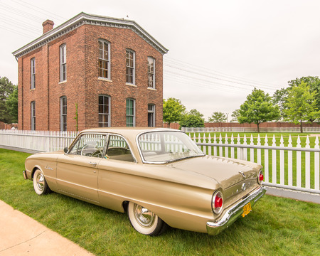 reminisce: DEARBORN, MIUSA - JUNE 20, 2015: A 1962 Ford Falcon car at The Henry Ford THF Motor Muster, held at Greenfield Village.
