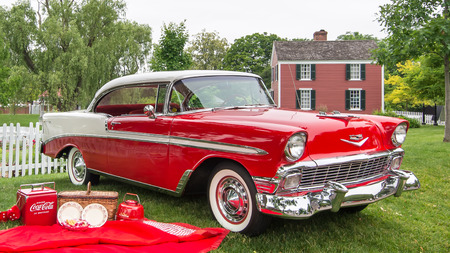 chevrolet: DEARBORN, MIUSA - JUNE 20, 2015: A 1956 Chevrolet Bel Air Sport Coupe car at The Henry Ford THF Motor Muster, held at Greenfield Village.